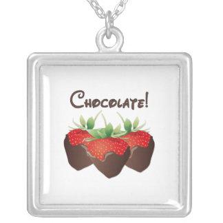 Chocolate Strawberry Square Pendant Necklace