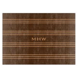 Chocolate Stripes custom monogram cutting boards