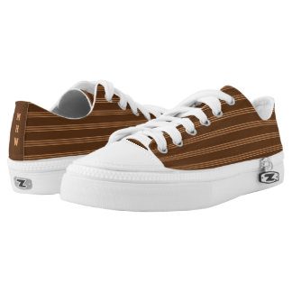 Chocolate Stripes custom monogram low top shoes Printed Shoes