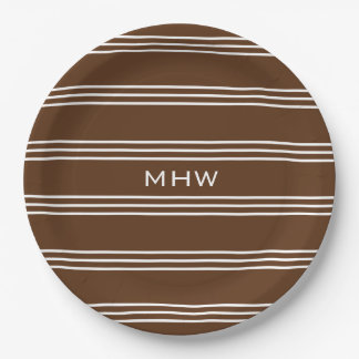 Chocolate Stripes custom monogram paper plates