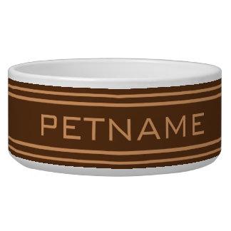 Chocolate Stripes custom monogram pet bowls