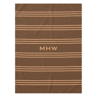 Chocolate Stripes custom monogram table cloths