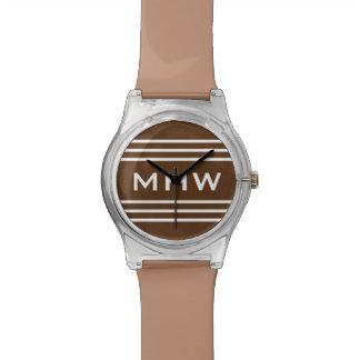 Chocolate Stripes custom monogram watch