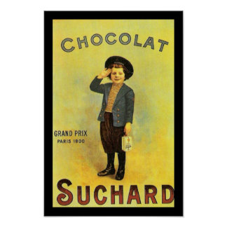 Chocolate Suchard 3 Vintage Ad with Boy Poster