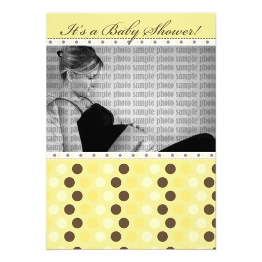 Chocolate Sunny Yellow Dots Baby Shower Invitation
