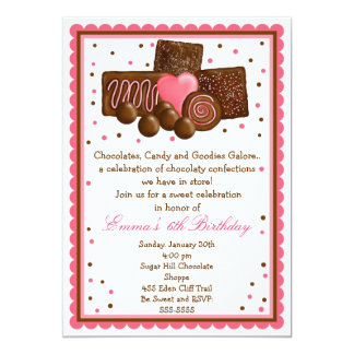 Chocolate Sweet Shop Inivtations Card