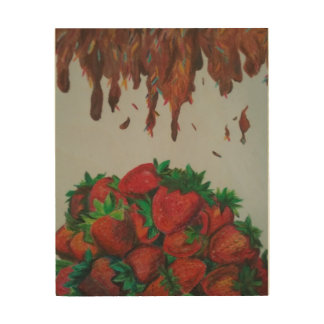 Chocolate Syrup topping Strawberries Wood Wall Decor