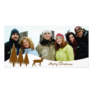 Chocolate Trees & Deer  Merry Christmas Picture Card