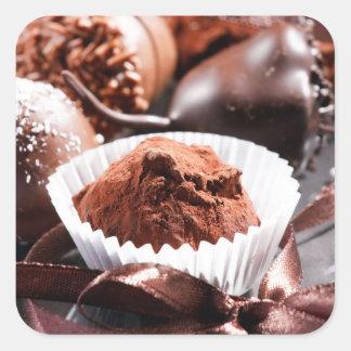 Chocolate truffles square sticker