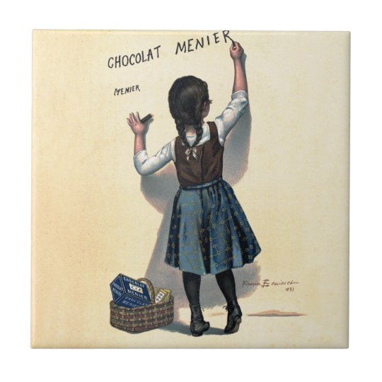 Chocolate Wall Writing Vintage Small Square Tile