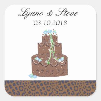 Chocolate Wedding Cake Save the Date Square Sticker