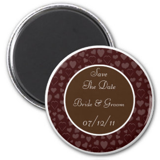 Chocolate & White Hearts Design Save The Date Refrigerator Magnets