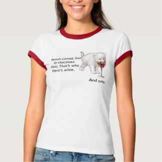 Chocolate Wine and Cats Facts of Life T-Shirt