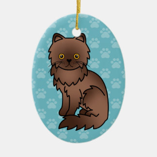Chocolate With Orange Eyes Persian Cat Christmas Ornament