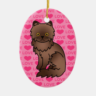 Chocolate With Orange Eyes Persian Cat Love Christmas Ornament