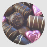 chocolates with pink foil classic round sticker
