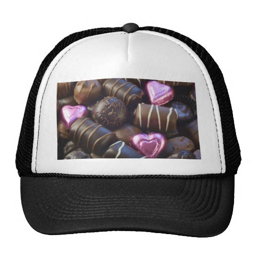 chocolates with pink foil trucker hat