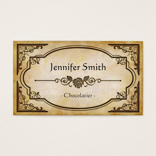Chocolatier - Elegant Vintage Antique Business Card