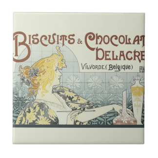 Chocoloate Art Nouveau Tile