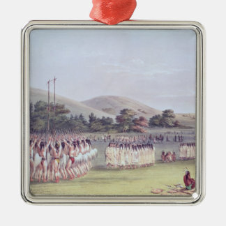 Choctaw Ball-Play Dance, 1834-35 Silver-Colored Square Decoration