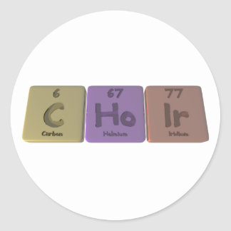 Choir-C-Ho-Ir-Carbon-Holmium-Iridium.png Round Sticker