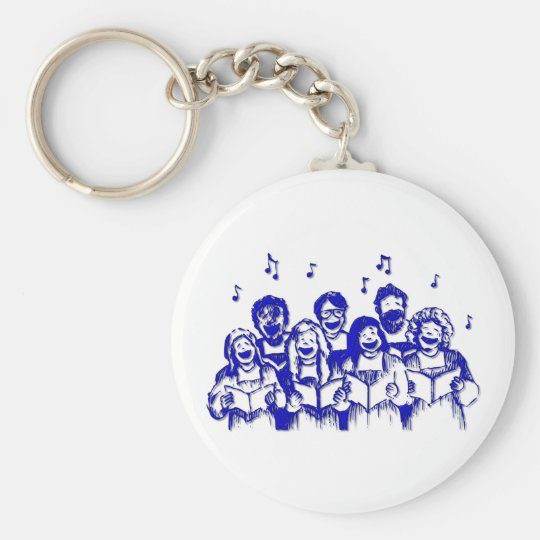 Choir members/singers basic round button key ring