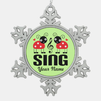 Choir Music Ladybug Snowflake Pewter Christmas Ornament