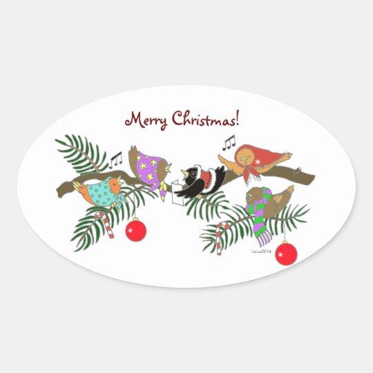Choir of Christmas Birdies Ukrainian Folk Art Oval Sticker