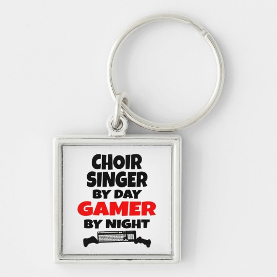 Choir Singer by Day Gamer by Night Silver-Colored Square Key Ring