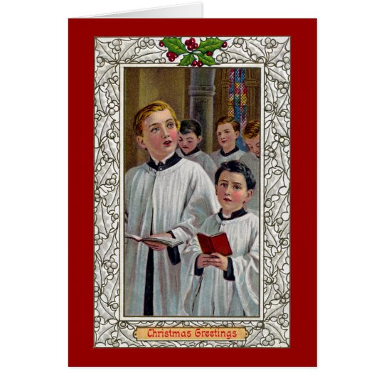 Choirboys Singing Christmas Carols Card