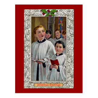 Choirboys Singing Christmas Carols Postcard