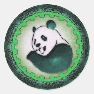 Chomping Panda Chilling Round Sticker