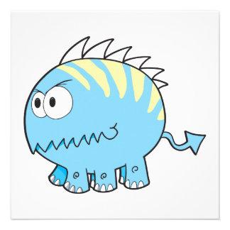chompy spikey blue pet monster invitations