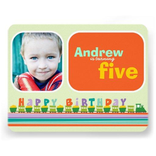 Choo Choo Birthday Train Boy Birthday Photo Invite