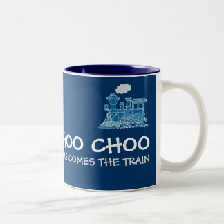 """Choo Choo here comes the train"" blue mug"