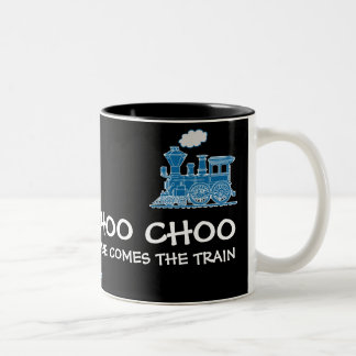 Choo Choo here comes the train navy & black mug