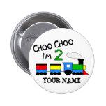 Choo Choo I'm 2!  With TRAIN 6 Cm Round Badge