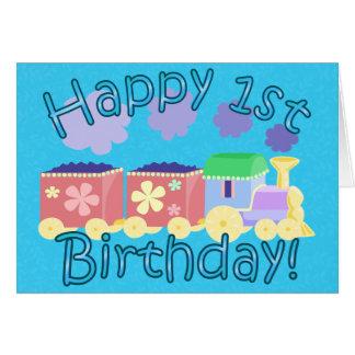 Choo Choo Train 1st Birthday Card