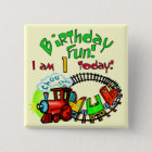 Choo Choo Train 1st Birthday Tshirts and Gifts 15 Cm Square Badge
