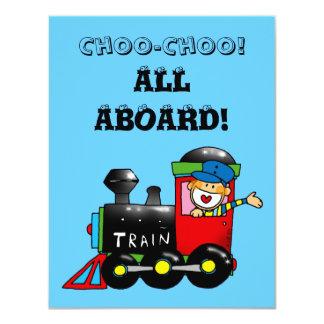 choo choo train 4th birthday party 11 cm x 14 cm invitation card