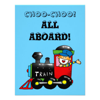 choo choo train 4th birthday party invitation