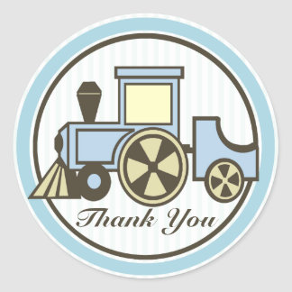 Choo Choo Train Baby Blue Classic Round Sticker