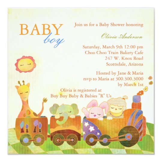 Choo Choo Train Baby boy Baby Shower Card