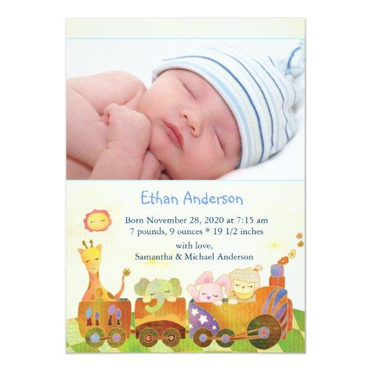 Choo Choo Train Baby Boy Photo Birth Announcement