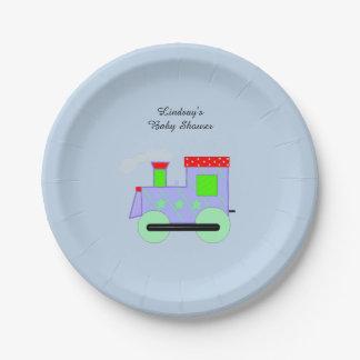Choo Choo Train Baby Shower 7 Inch Paper Plate