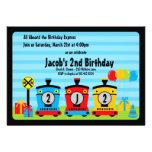 choo choo train birthday boy invitations blue red