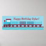 Choo Choo Train Personalised Birthday Banner Poster
