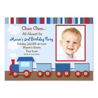 Choo Choo Train Photo Birthday Party Invitations
