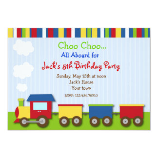 Choo Choo Train Trains Birthday Party Invitations