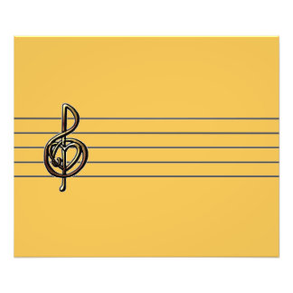 Choose a Color Embossed Look Treble Clef and Hear Art Photo